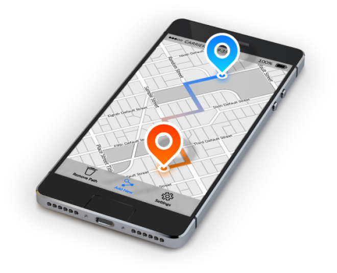 From point A to B using GPS on mobile