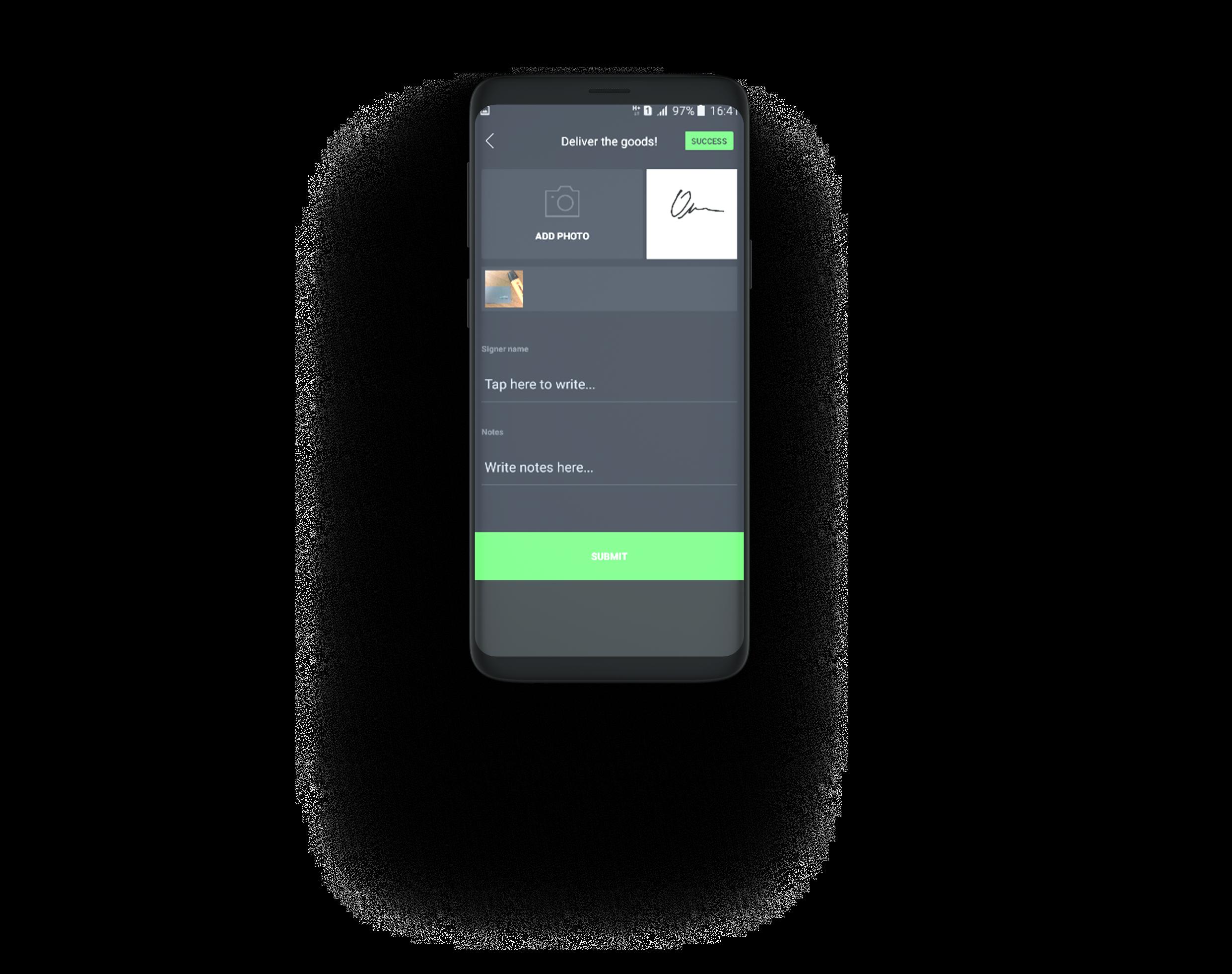 Digital signature capability in mobile app